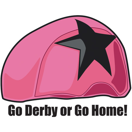 derby hats:   Illustration of pink helmet for Roller Derby sport Illustration