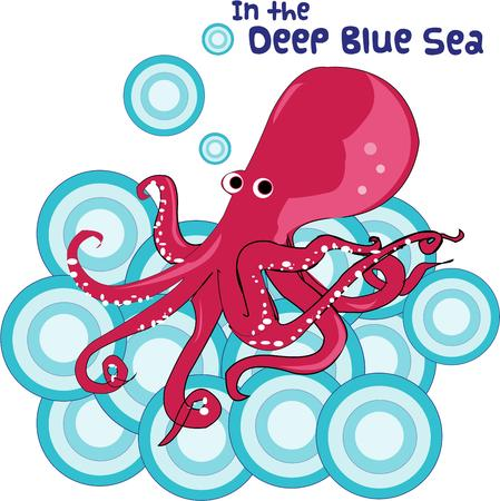 cephalopod: Way down in the deep blue sea lives this cheery colored octopus.  Surrounded by big blue bubbles he makes a lovely bath robe companion Illustration