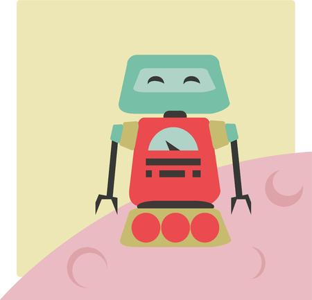 kumpel: Hallo und Gr��e aus unserem lustigen Roboter pal Dieser humorvolle Roboter ist ein gro�er In den Rucksack eines Jungen. Illustration