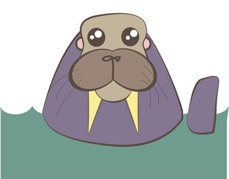 morse: This long tusked walrus is just the cutest  He is sure to bring a smile as a decoration on kids wear. Illustration