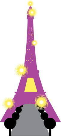 masterpiece: Create a Paisian masterpiece with this stylized Eiffel Tower.  Lovely on pillows Illustration