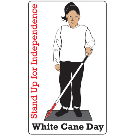 impairment: White Cane generates awareness for those with visual impairment.  Create awareness with your own unique awareness items. Illustration