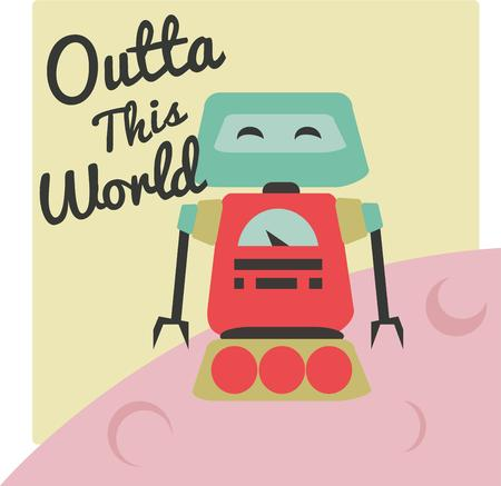 this: Hello and greetings from our funny robot pal  This humorous robot is a great add to a boys backpack.