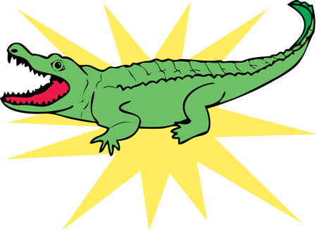 growl: A fierce alligator shows is dreadful teeth to inspire fear.  This is not your standard apparel alligator  add him to your polo shirts for a fun statement. Illustration