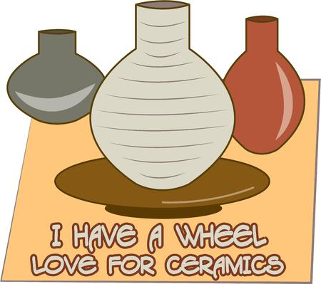 earthenware: Celebrate your creativity and imagination with this design of pottery.  Perfect to embellish an artists coat Illustration
