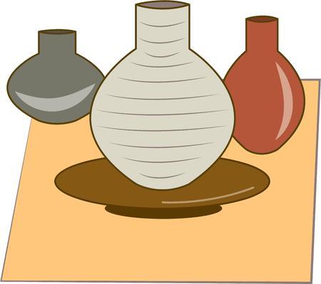 earthenware: Celebre su creatividad e imaginaci�n con este dise�o de la cer�mica. Perfecto para embellecer un abrigo de artistas Vectores
