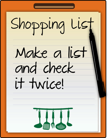 super market: Keep a shopping list and make fewer trips to the market  This kitchen inspired shopping list makes a super cute decoration for so many projects Illustration