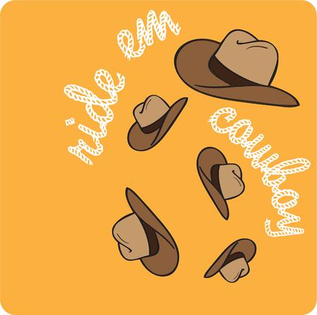 ha: Ye ha flying cowboy hats create a motif for Stetson fans.  This design creates an amazing effect added to denim jackets or Western wear. Illustration