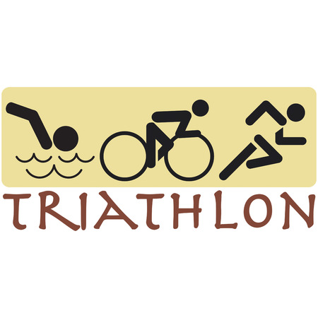 eye catching: This eye catching design combines all the events of the triathlon.
