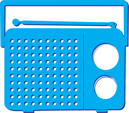 turn up: Turn up the volume with this colorful blue radio.  Makes a fun decoration for a party invitation.