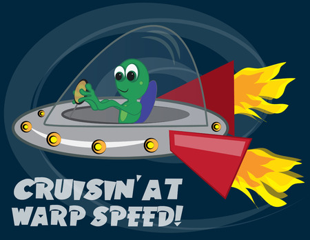 warp speed: Earth bound aliens are in flight at warp speed.