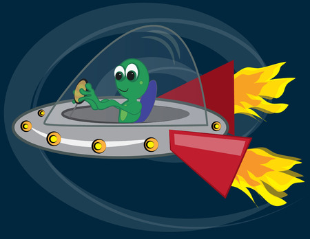 warp speed: Earth bound aliens are in flight at warp speed. This speedy spaceship makes any boys shirt into an instant favorite. Illustration