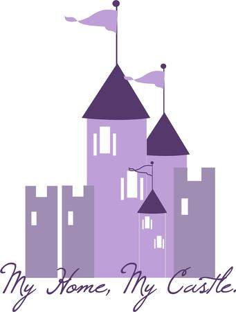 enchanted: A lovely princess must live in this enchanted castle from a childrens fairy tale  Create a special shirt for a little princess featuring this castle in purple. Illustration