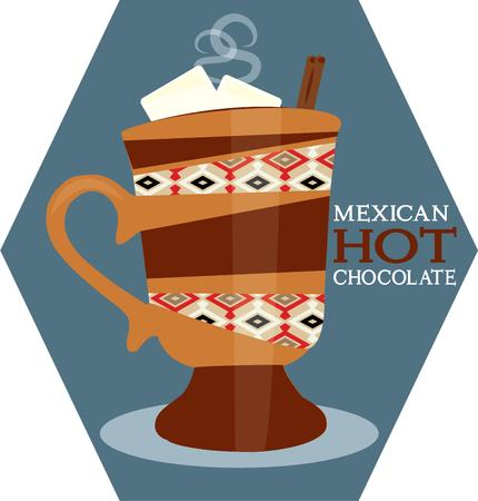 marshmallows: Mexican hot chocolate is a delicious twist to typical cocoa.  Add this festive mug to kitchen gear for a festive appeal.