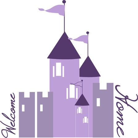 chateau: A lovely princess must live in this enchanted castle from a childrens fairy tale  Create a special shirt for a little princess featuring this castle in purple. Illustration