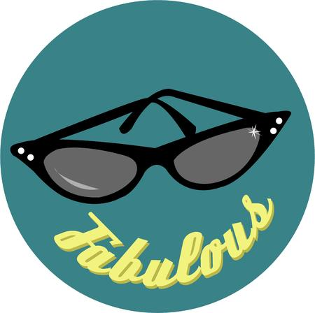 eyewear: Fashionable cateye frames for a sophisticated and exotic look  Add some flair from the 60s to shirts and jackets. Illustration