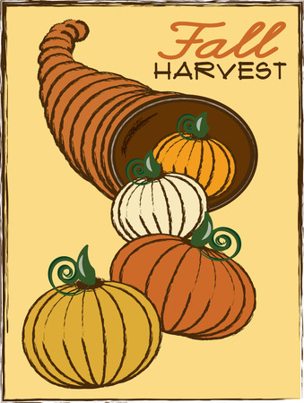 harvest cone cornucopia: A classic autumn design with a twist  it is full of multicolored pumpkins  A charming dcor statement not only for Thanksgiving but the entire fall season.