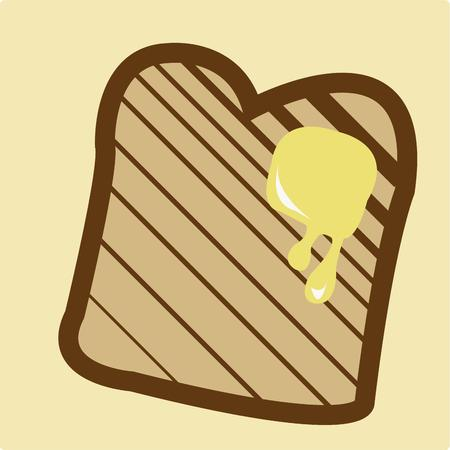 buttered: Buttered toast is the dish even a noncook can make with perfection.  This bread graphic is just what you need to compliment a cute tea towel or dish rag for your kitchen.