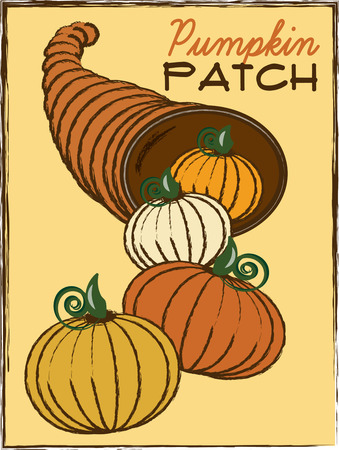 fall harvest: cornucopia thanksgiving give thanks feast holiday Horn of Plenty harvest cone festive fruit fall autumn holiday harvesting season pumpkin vegetable yellow squash food Illustration