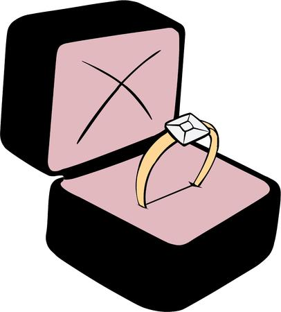 solitaire: Nothing says true love forever quite like a diamond solitaire.  Add this lovely boxed solitaire to engagement celebrations of all kinds. Illustration