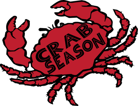 crab meat: Boiled to perfection and served with butter our big red crab it the best.  Love this design on a seafood bib