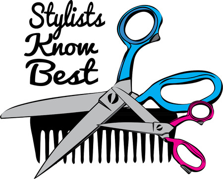 clippers comb: Scissors and a plastic comb are the stylist weapons of choice!  Imagine these implements on your favorite stylests jacket. Illustration