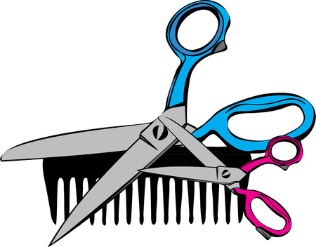 hair cutting: Scissors and a plastic comb are the stylist weapons of choice  Imagine these implements on your favorite stylests jacket.