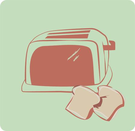 buttered: Buttered toast is the dish even a noncook can make with perfection.  This toaster with retro charm on turquoise is just what you need to compliment a cute tea towel or dish rag for your kitchen. Illustration
