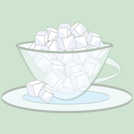 sweetener: Heres a lovely glass bowl filled with sugar cubes for your tea or coffee.  What a pretty decoration for your coffee service.