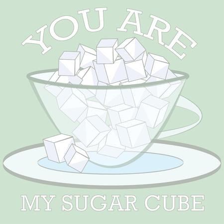 sugar cube: Heres a lovely glass bowl filled with sugar cubes for your tea or coffee.  What a pretty decoration for your coffee service.