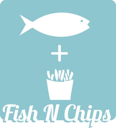 frites: Fish and chips  the traditional English dish on artistic display.  .  Stitch on tea towels to display in your kitchen.