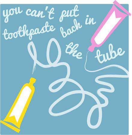 fluoride: Toothpaste squiggles create a fun artistic element for your bathroom.  Add to a hand towel for color and charm. Illustration