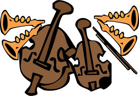 sounds: The sweet sounds of jazz come from this assortment of instruments.  Create a beautiful musicians bag or decorated shirt featuring this artistic design.