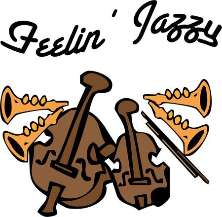 jazzy: The sweet sounds of jazz come from this assortment of instruments.  Create a beautiful musicians bag or decorated shirt featuring this artistic design.