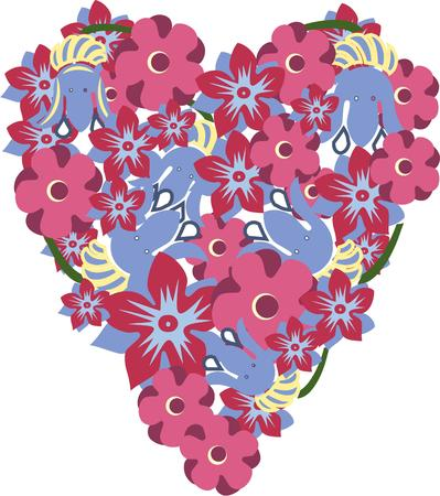 blooms: Show your love with flowers.  These lovely blooms in a heart shaped spray create a perfect decoration for shirts jackets and bags. Vettoriali