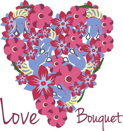 blooms: Show your love with flowers.  These lovely blooms in a heart shaped spray create a perfect decoration for shirts jackets and bags. Illustration