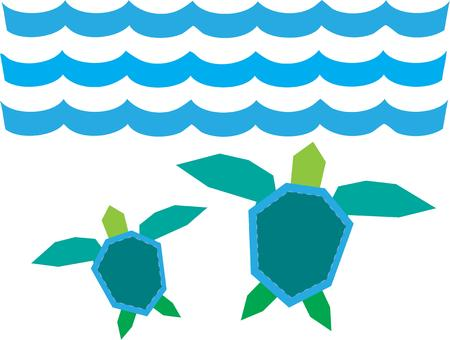baby turtle: Our mommy and baby turtle swim under the oceans blue waves.  This artistic design adds elements of color and shape to your aquatic creations. Lovely on towels for the pool or beach. Illustration