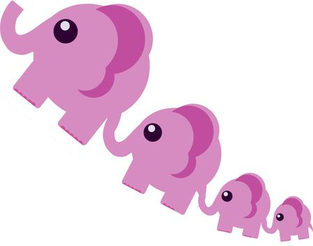 pachyderm: This parade of pink pachyderms adds a colorful charm to projects for kids and babies.