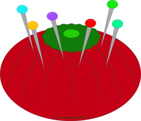 costurera: Parece que cada costurera tiene un alfiletero en forma de tomate. Esta belleza cl�sica est� llena de alfileres de colores. Crear una caja de costura especial vestida con este dise�o de tomate Vectores