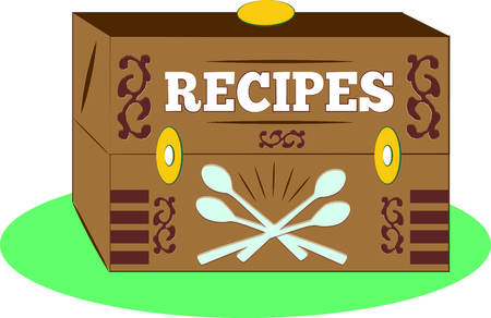 recipe decorated: The biggest treasure from an experienced chef is their recipe box.  Create your own recipe box decorated with this vintage box design.