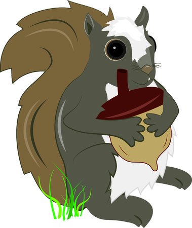 pal: This squirrel has found a prize with a giant acorn  Add this sweet and cuddly pal to kids gear or garden flags.