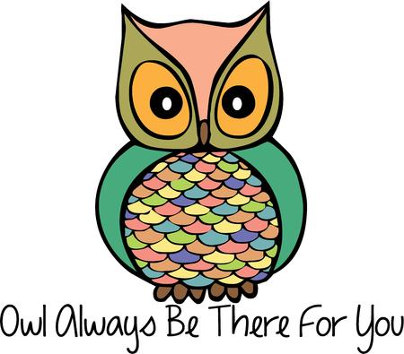 masterpiece: This super trendy owl is a masterpiece of colors and design.  He is a great embellishment on shirts bags or a backpack. Illustration