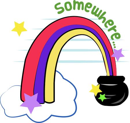 end of rainbow: At the end of the beautiful rainbow lies a priceless treasure  the legendary pot of gold  Create a treasure of a gift with this fun design.  Great on jackets