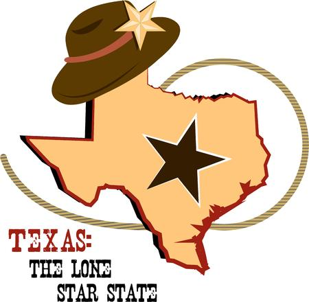 lone: Everything is better and bigger in Texas  Celebrate Texas with this collage of state lone star rope and hat.  Add to a denim shirt to create a sure fire hit