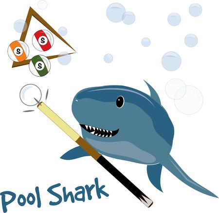 pool player: Our toothy shark is an amazing pool player  in fact a real pool shark  This is a lighthearted fun design that works great on a jacket for your favorite pool player. Illustration