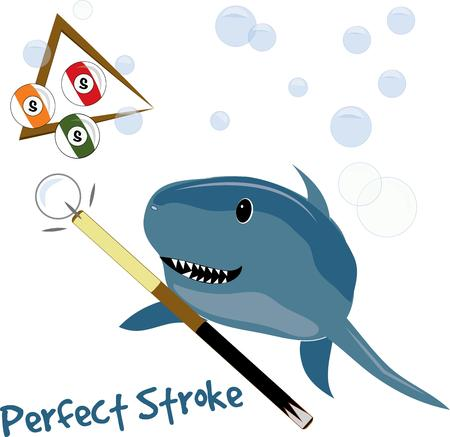 pool stick: Our toothy shark is an amazing pool player  in fact a real pool shark  This is a lighthearted fun design that works great on a jacket for your favorite pool player. Illustration