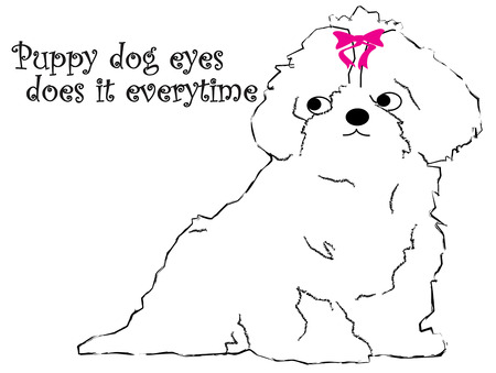 pup: A simple single color pup outline is so very sweet.  Add a bright pink bow and it becomes a cuddly sweetheart.