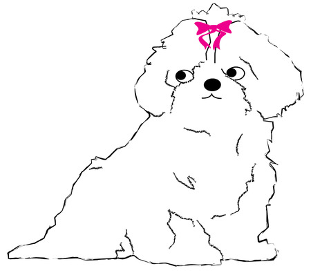 cuddly: A simple single color pup outline is so very sweet.  Add a bright pink bow and it becomes a cuddly sweetheart.