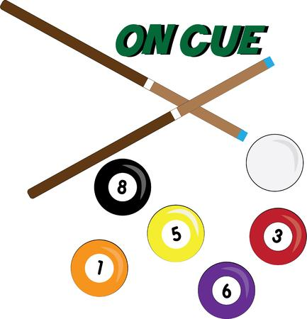 pool hall: Decorate your pool hall with these brightly colored pool balls and sticks.  These artistically arranged balls create the perfect image to add a special flair Illustration
