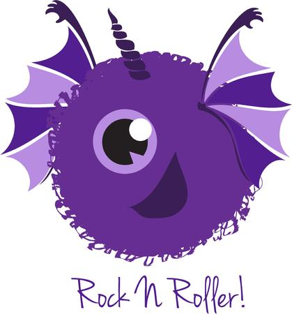 one eyed: What a scary monster  This one eyed purple monster is sure to add some fun fright to your little ones gear Illustration